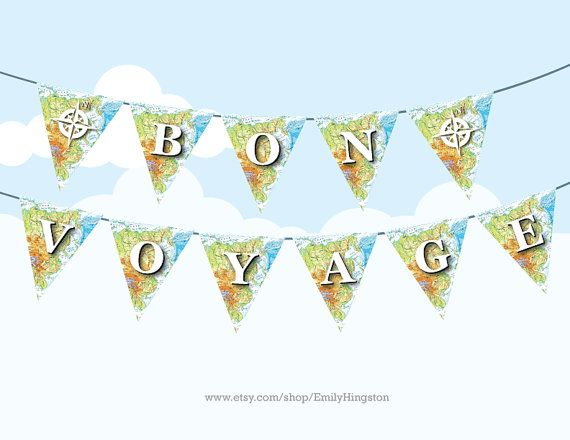 bon voyage map bunting large printable diy party decoration farewell party travelling