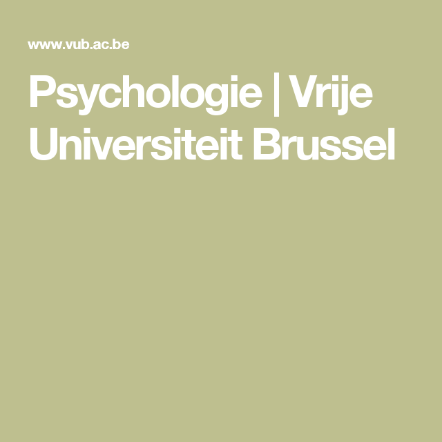 Psychologie | Vrije Universiteit Brussel