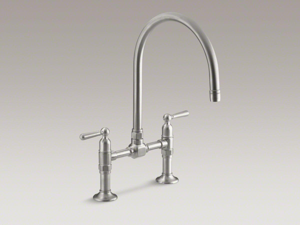 Hirise Two Hole Deck Mount Bridge Kitchen Sink Faucet With 10 1