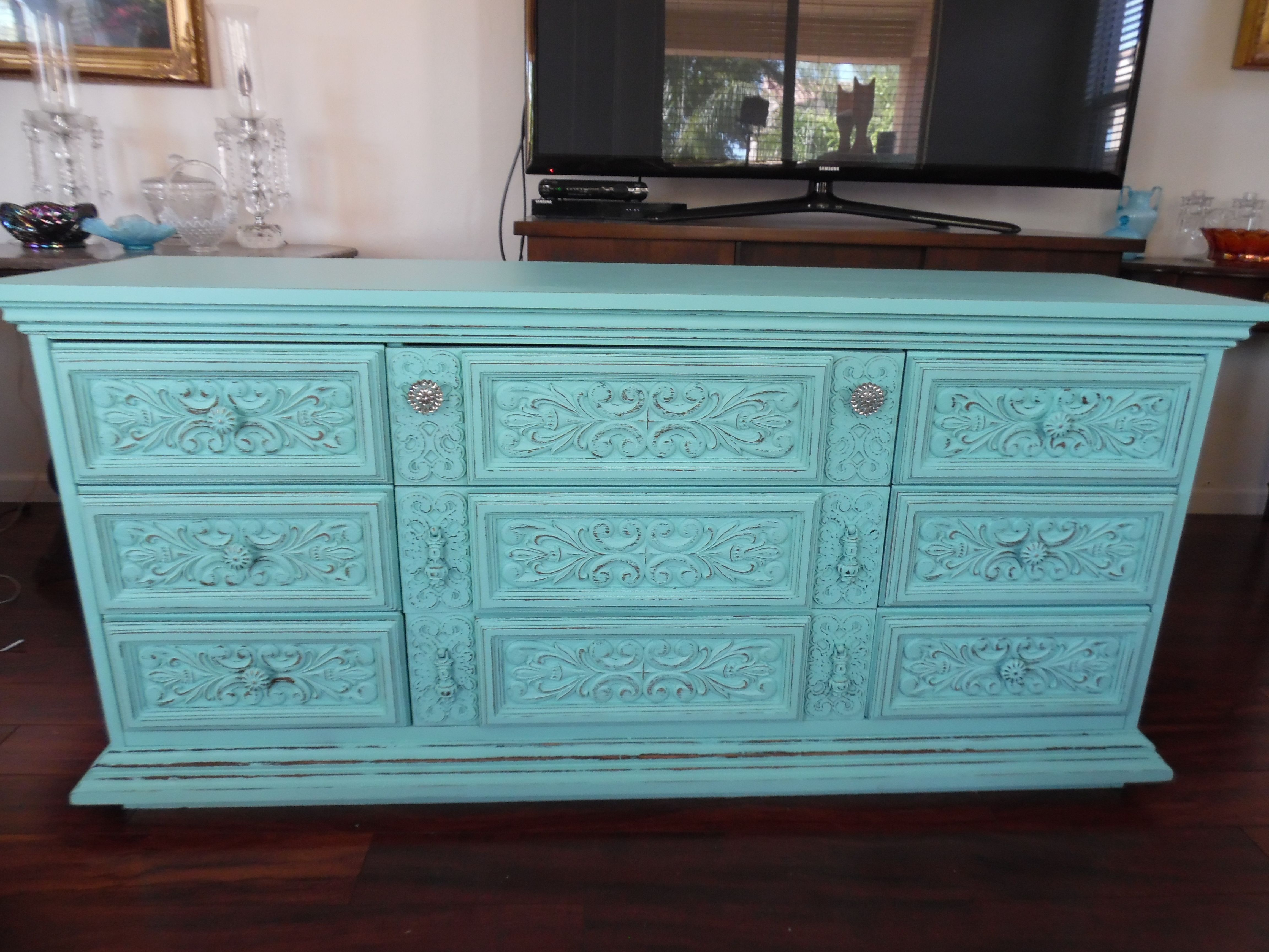 Uncategorized Turquoise Shabby Chic Furniture this beautiful nine drawer dresser has been painted turquoise and distressed sold by east valley dressersshabby chicdrawerturqu