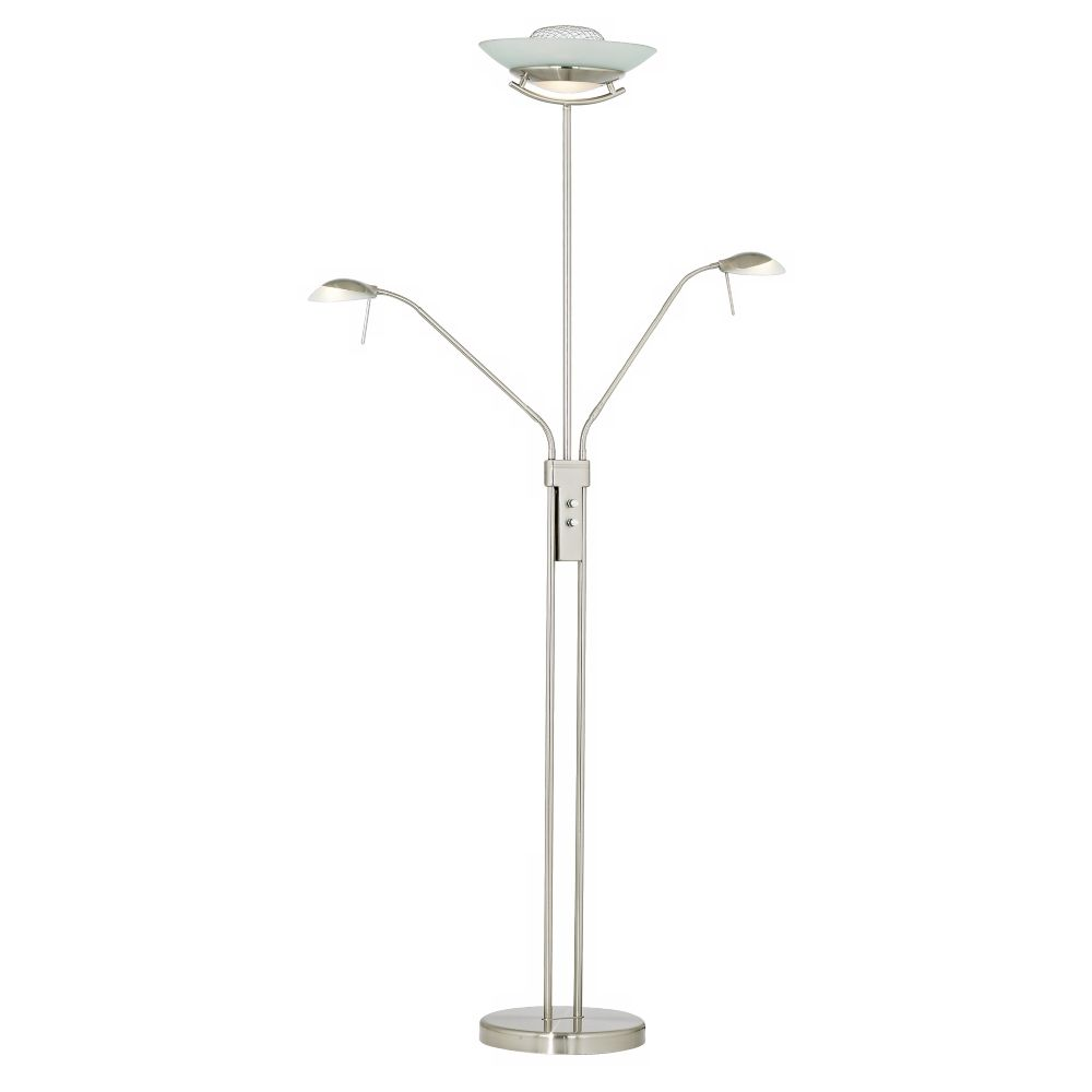 Halogen three light torchiere and reading floor lamp style