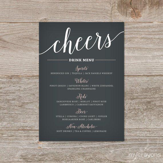 Modern Drink Menu Wedding Drink Menu Template Bar Menu Wedding Wedding Menu Template Bar Menu Getranke Karte Hochzeit Getrankekarte Hochzeit Menu Vorlage