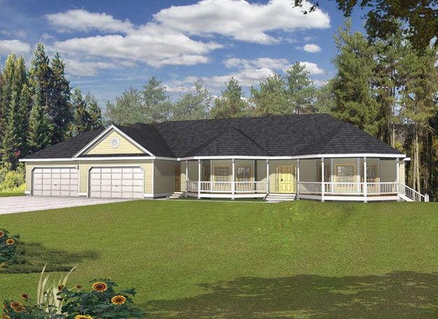 Covered front porch with octagon design provides an for House plans raised ranch style