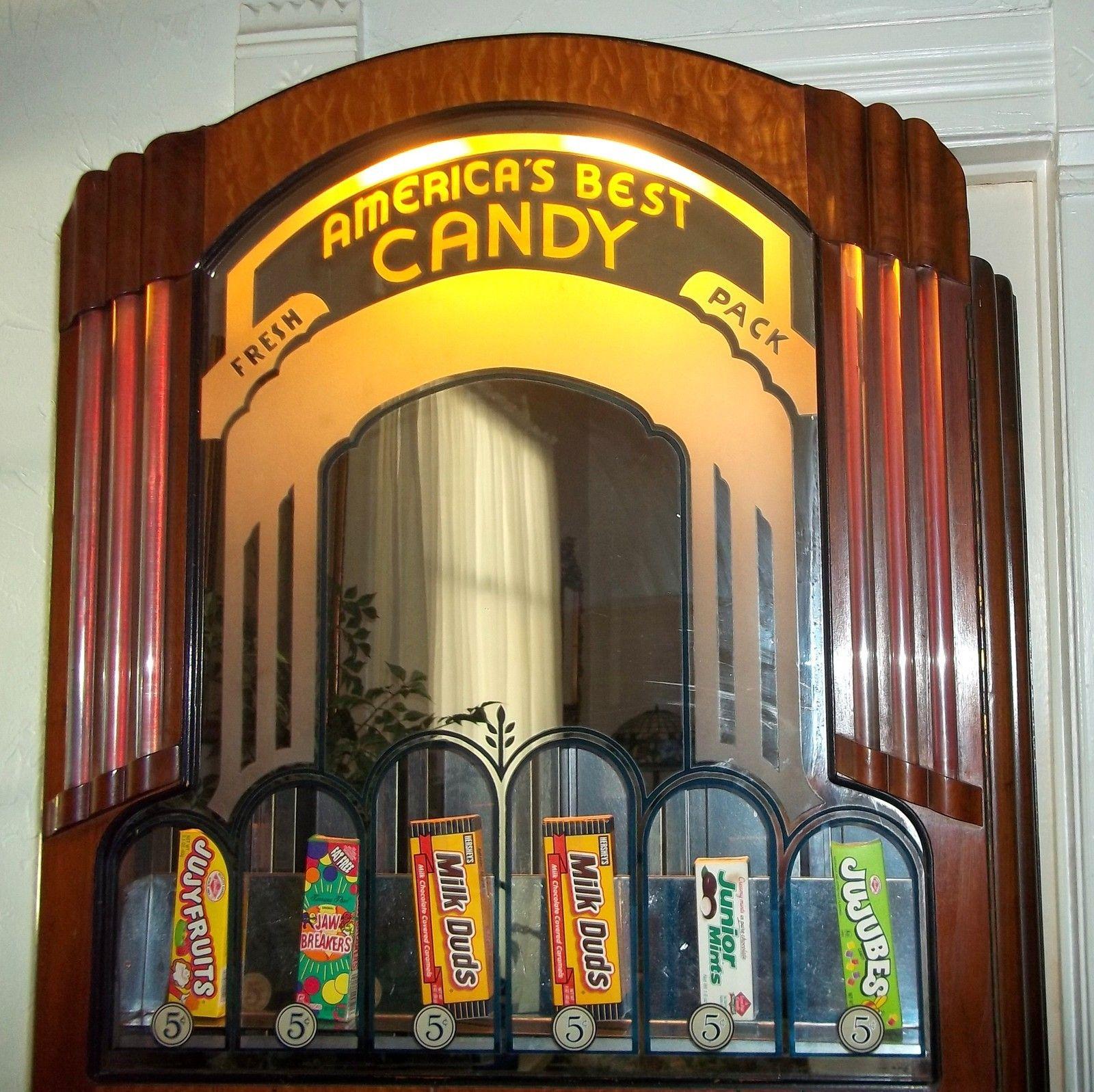 Antique art deco vending machine nickel candy dispenser theatre vending rare th tre art d co - Machine a orange pressee ...