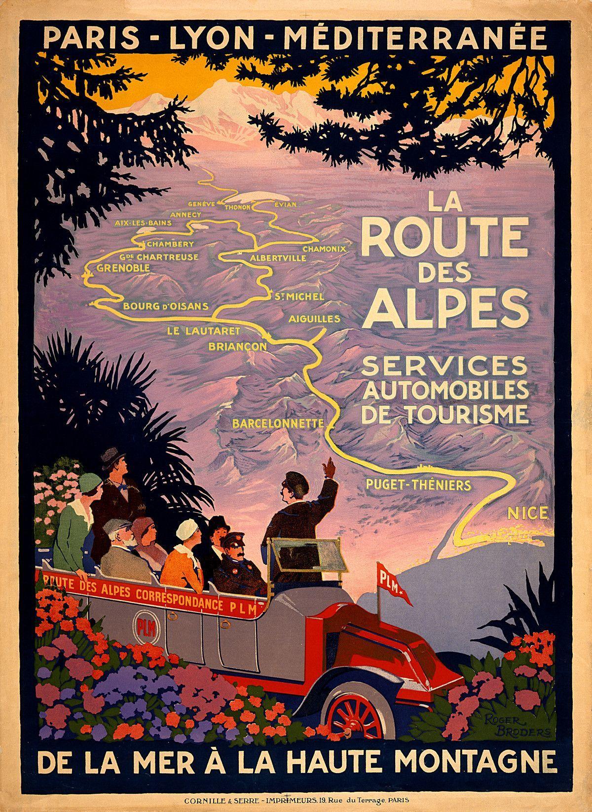 Vintage French Travel Poster Route Des Alpes Vintage Affischer Reseaffischer Resa Med Stil