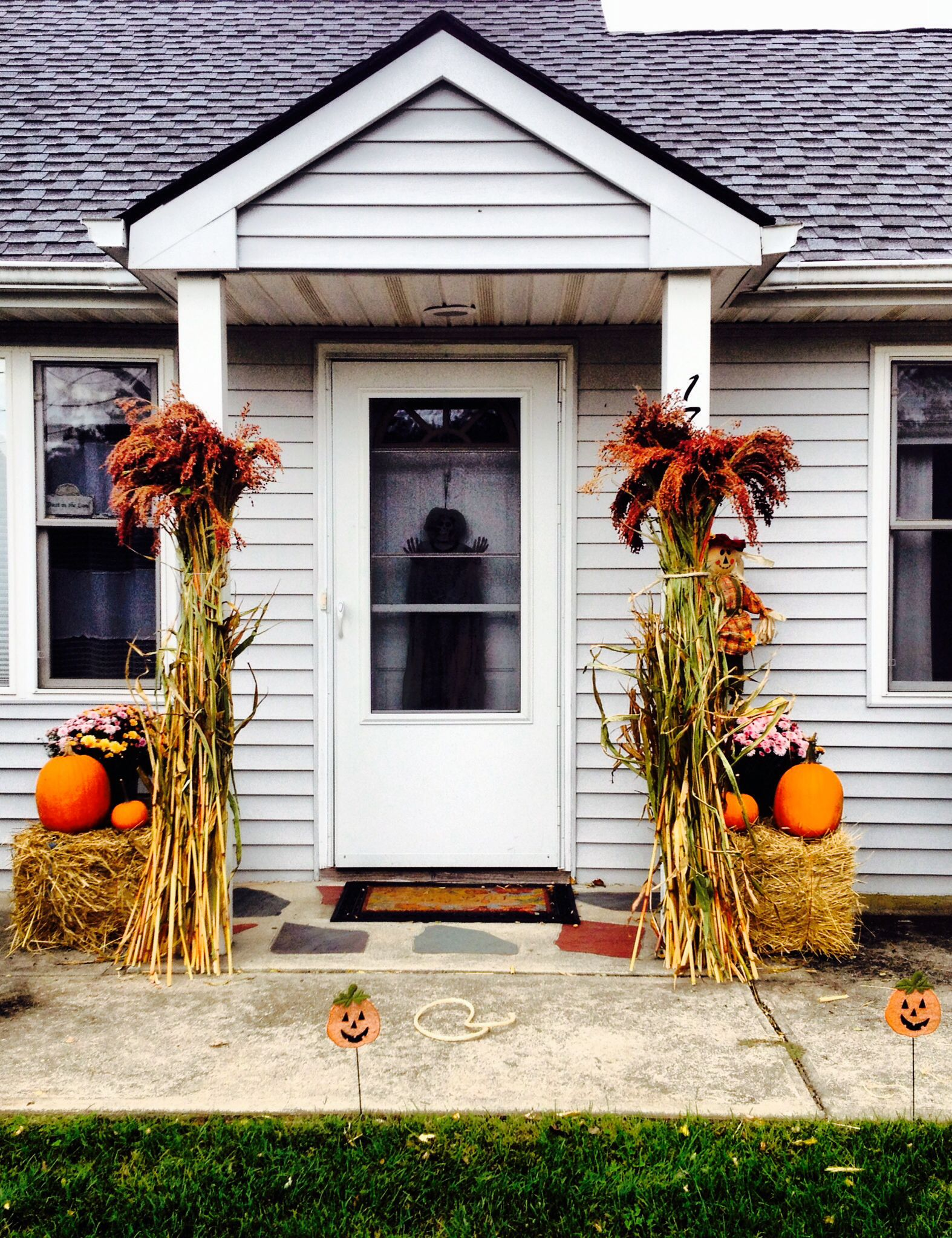 Halloween Themed Front Door  Outside Home Decor With Hay