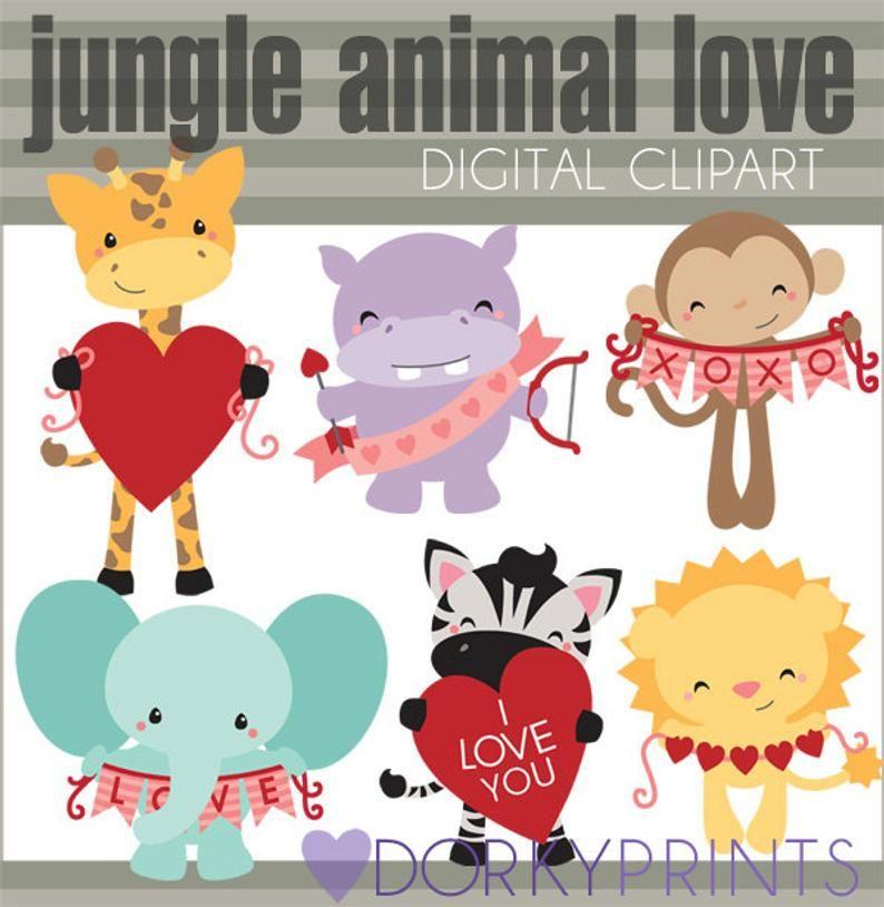Valentine Clipart With Jungle Animals Personal And Limited Etsy In 2020 Valentine Clipart Jungle Animals Clip Art