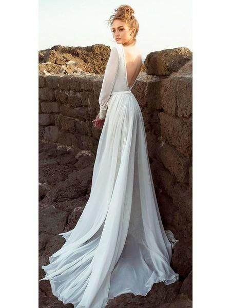 Long Sleeve Wedding Dresses Backless Chiffon Beach Wedding Drsses