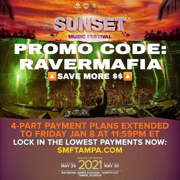 Sunset Music Festival 2021 Promo Code Ravermafia In 2021 Sunset Music Festival Music Festival Festival