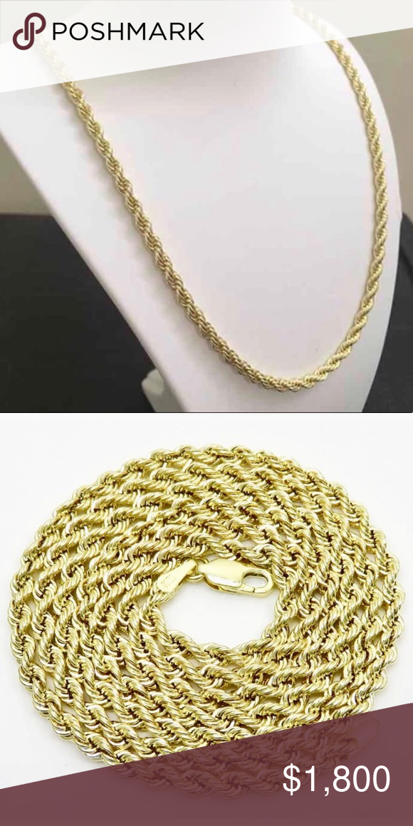 Solid Gold Heavy Rope Chain 4mm 22 Nwt Rope Chain Chain Solid Gold
