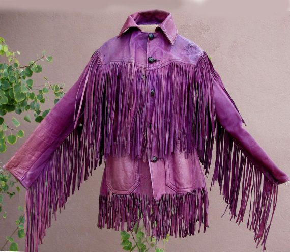 VINTAGE 70s - Jimi Hendrix Style Purple Leather Fringed Jacket