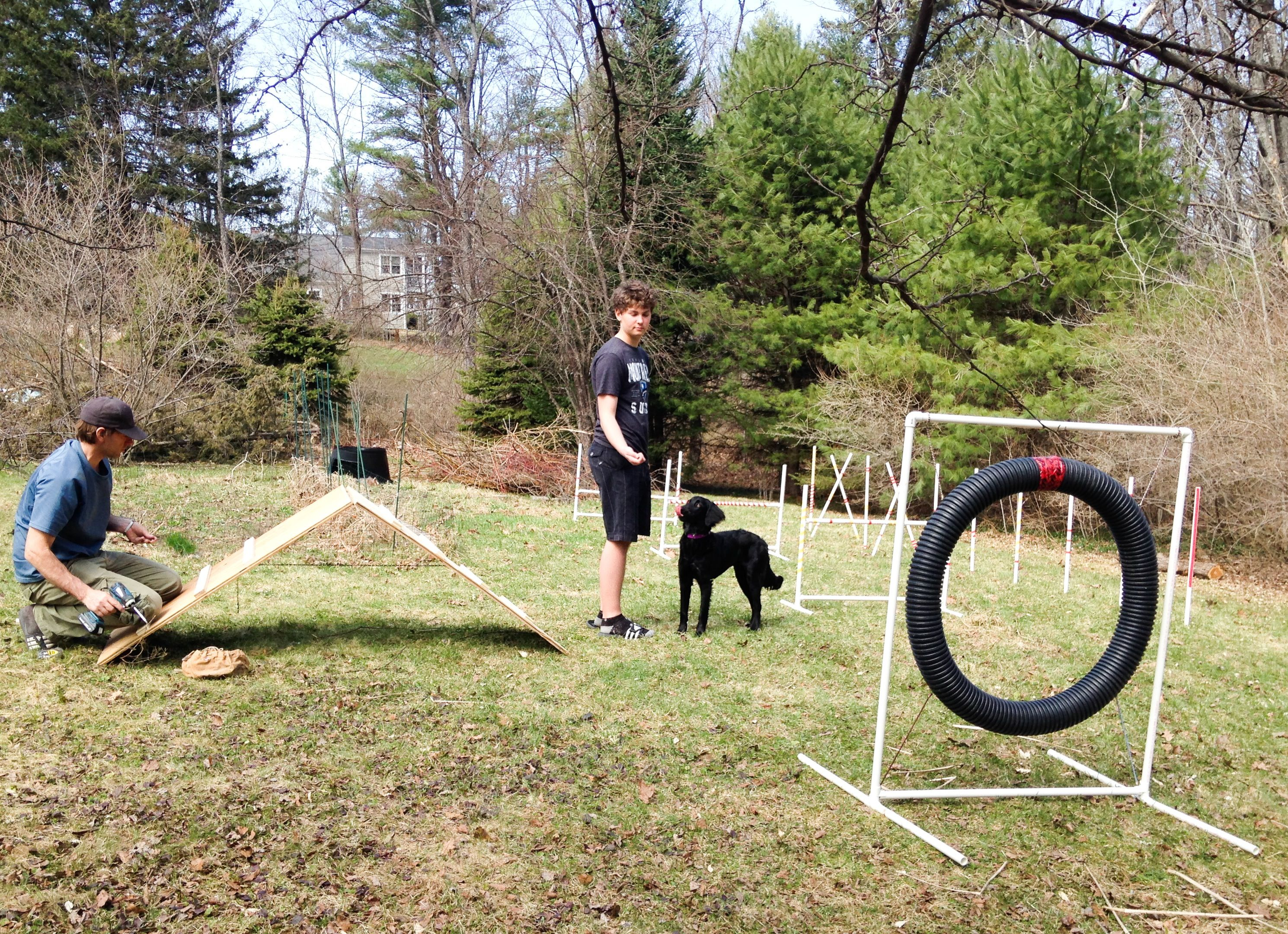 We made a basic agility course with PVC, pipes and screws ...