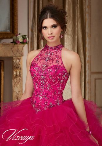 d1bc0e096 Jeweled Beading on a Ruffled Tulle Ball Gown  89103 - Quinceanera Mall   quinceaneramall  quinceañera  sweetsixteen  quincedresses