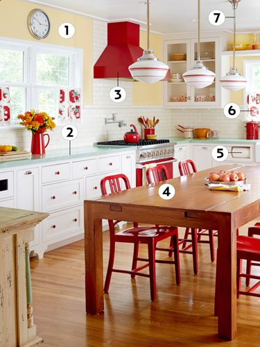 Perfect Retro Kitchen   Kitchen Decor Ideas   Country Living Love The Lights And Red  Chairs Amazing Design