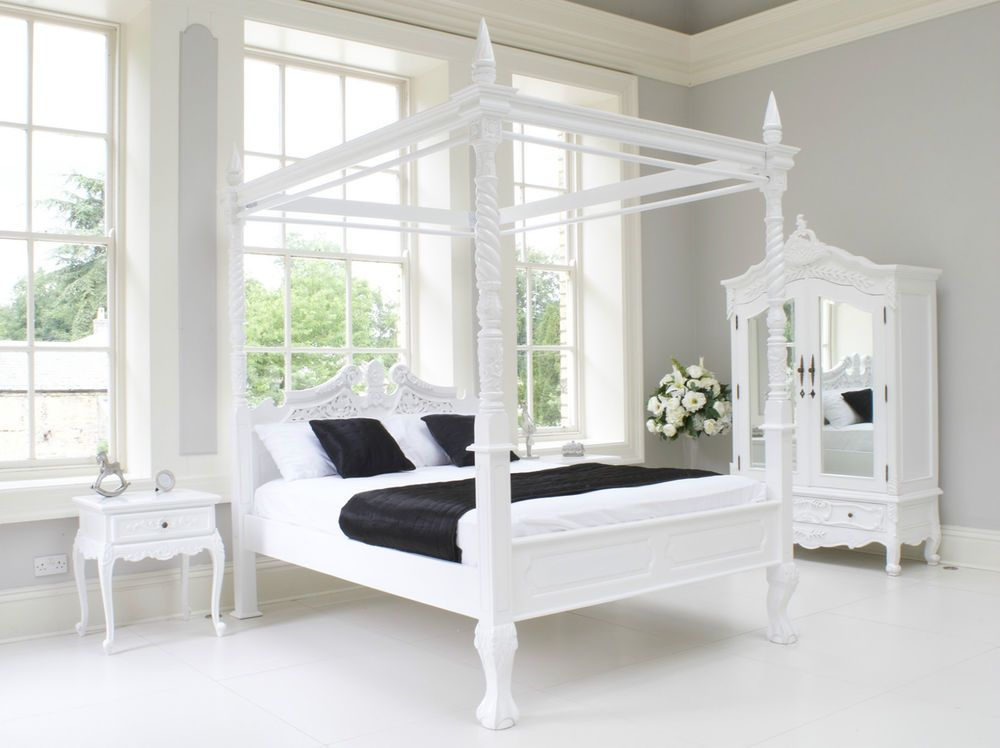 French Rococo 4 Poster Bed Cau White Louis Italian King Size