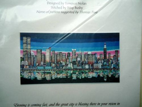 Dimple Designs Terrence Nolan Reflection Cross Stitch New York City Skyline | eBay