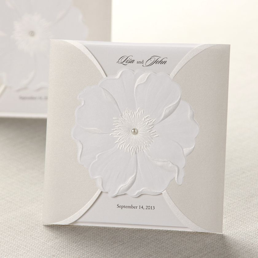 Sculpted Flower Open Pocket - Wedding Invitations | Cards/invites ...