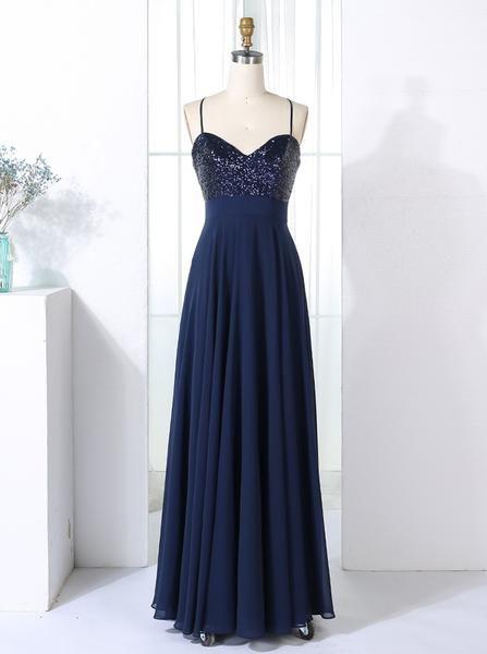 806931ad Dark Navy Bridesmaid Dresses Long,Chiffon Sequined Bridesmaid Dress,Bridesmaid  Dresses Long Elegant,BD00306