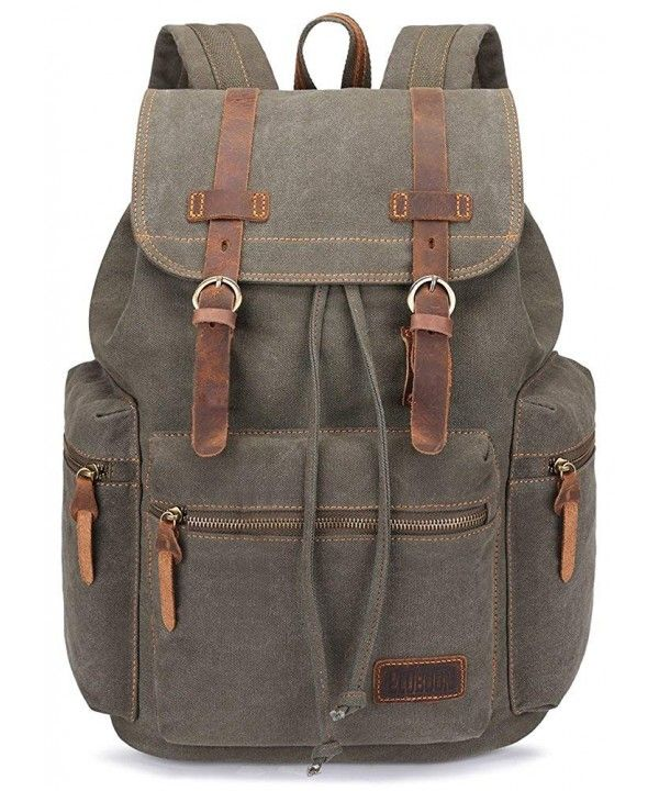 Canvas Vintage Backpack Leather Trim Casual Bookbag Men Women Laptop ... 05c66073d7e73