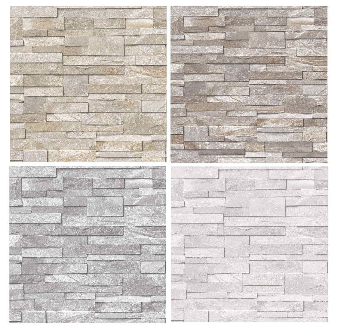 Details About 3d Slate Stone Brick Effect Wallpaper Washable Vinyl Stone Sand Grey Brick Effect Wallpaper Stone Walls Interior Brick Effect Tiles