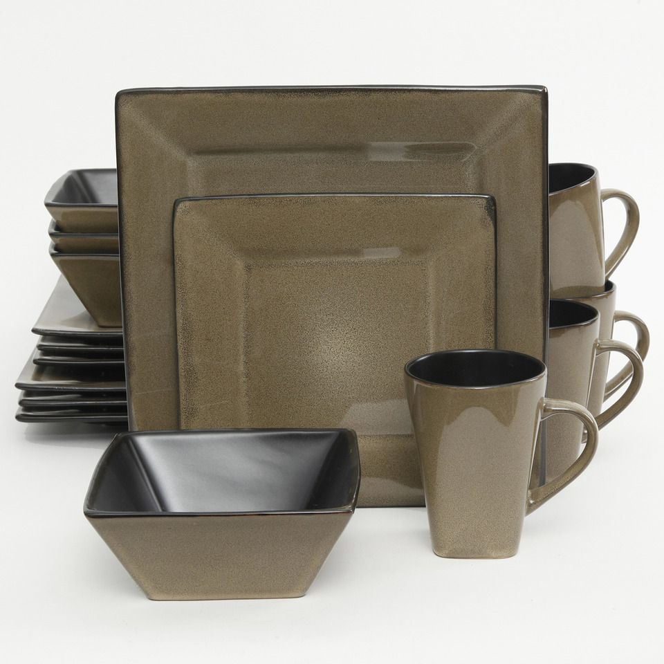 Gibson - 16-Piece Kiesling Dinnerware Set in Taupe and Black