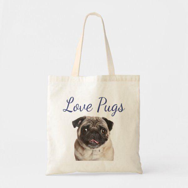 Love Pug Puppy Dog Canvas Totebag Large Tote Bag  ukbag
