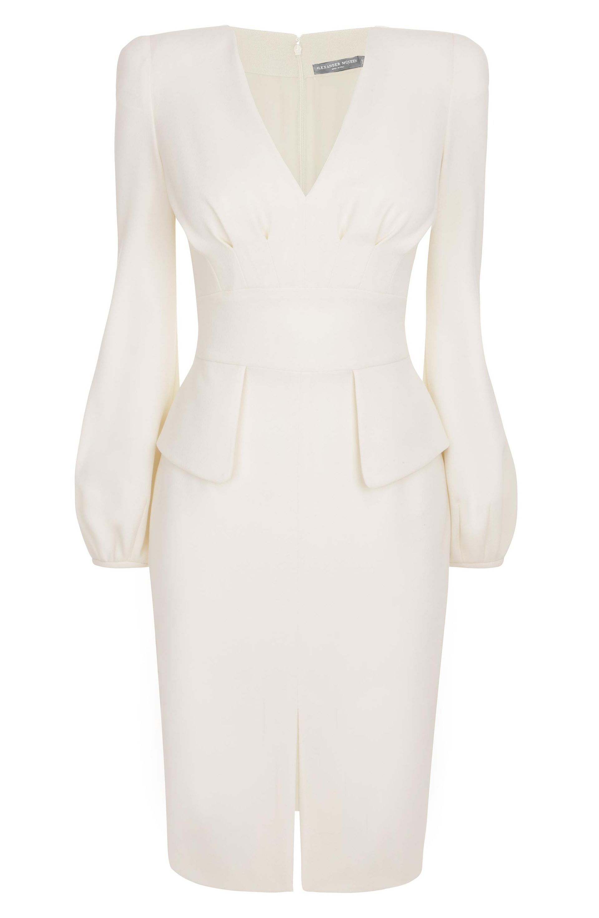 Alexander mcqueen ivory bell sleeve wool crepe pencil dress doors