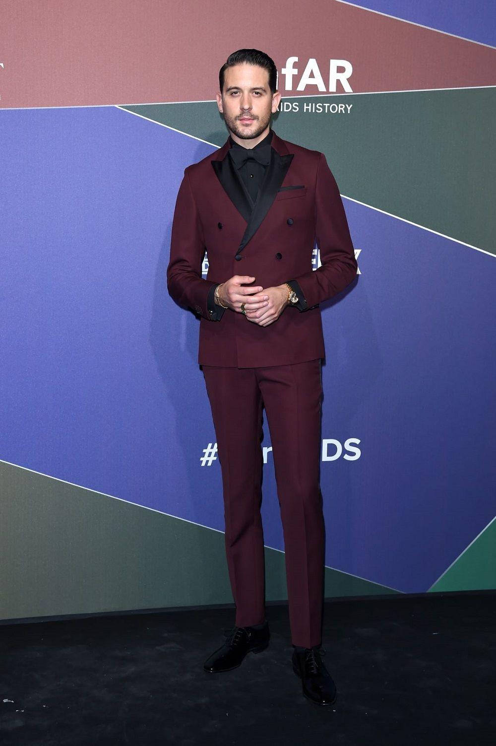 Rapper G Eazy Wearing Boss To Attend The Amfar Gala In Milan Suitedbyboss G Eazy Style Mens Floral Blazer Menswear