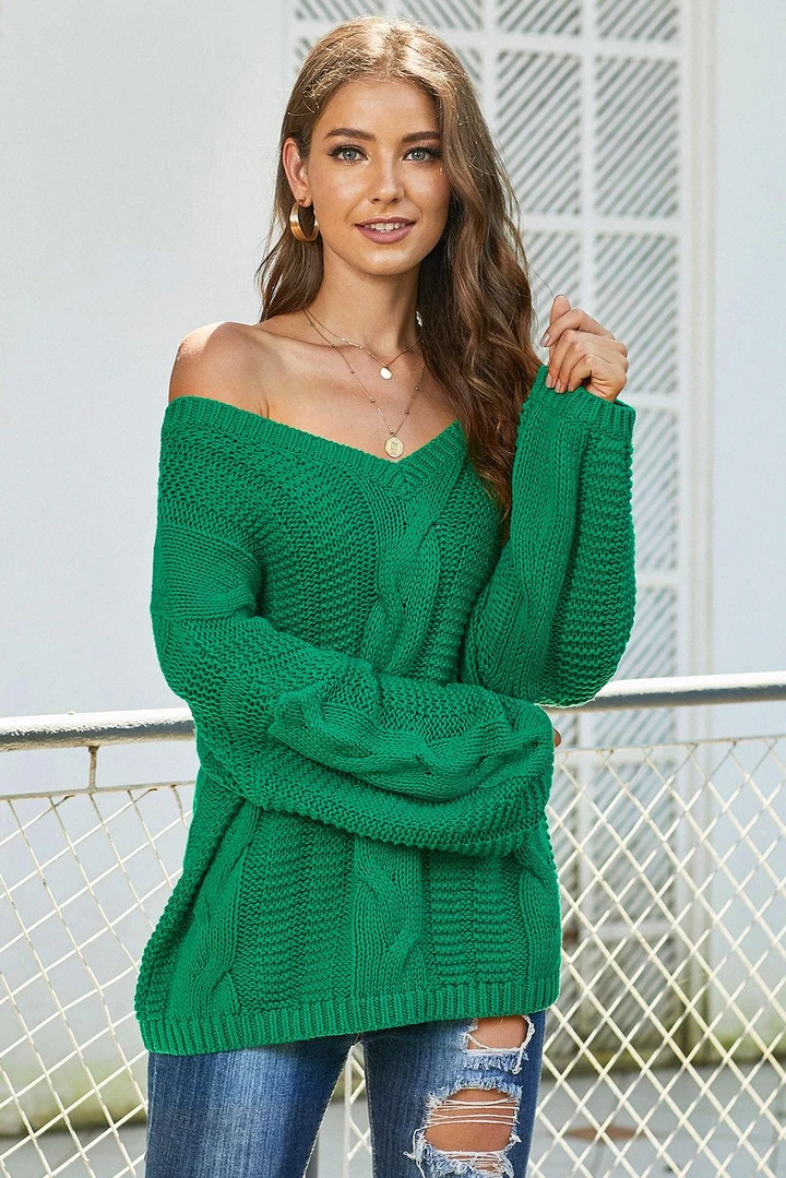 Green Bubblegum V-Neck Braided Knit Sweater #loosebraids