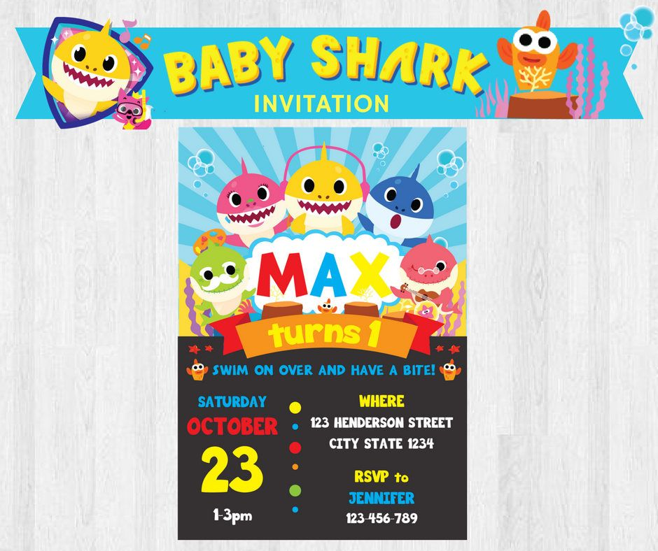 Under The Sea PinkFong Baby Shark Birthday Party Invitation Invites Printable By PigsyPartyShack On Etsy