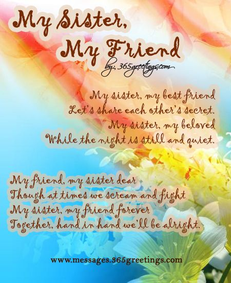 Poems for Friends Sister birthday quotes, Friend poems