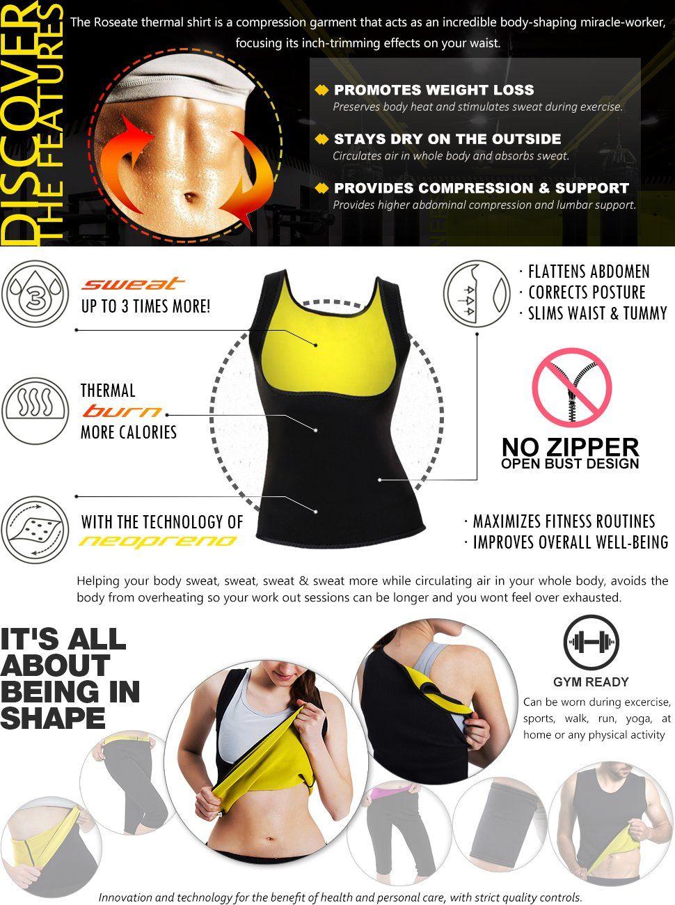 eebb90ad46 Roseate Women s Body Shaper Hot Sweat Workout Tank Top Slimming Vest Tummy  Fat Burner Neoprene Shapewear for Weight Loss