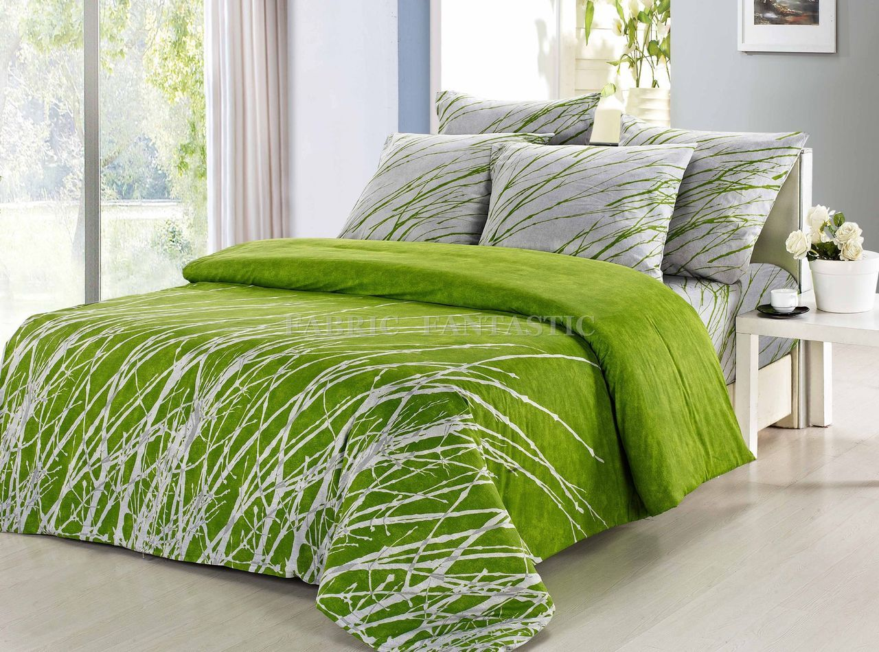 Exceptional GREEN TREE Queen/King/Super Size Bed Quilt/Doona/Duvet Cover Set / Sheet  Set New