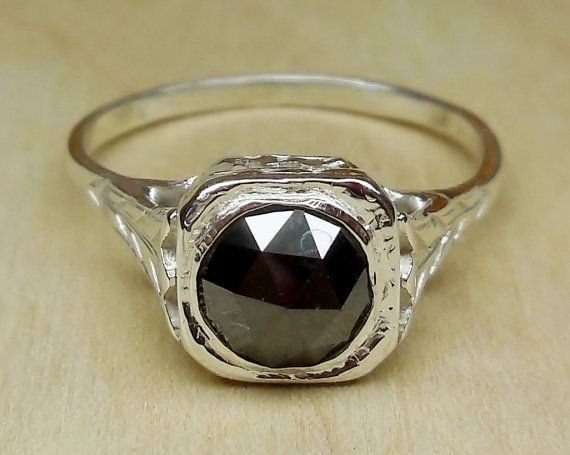 Vintage Antique 1.00ct Rose Cut Black Diamond Bezel Set 9k White Gold Alternative Engagement Ring Art Deco 1920