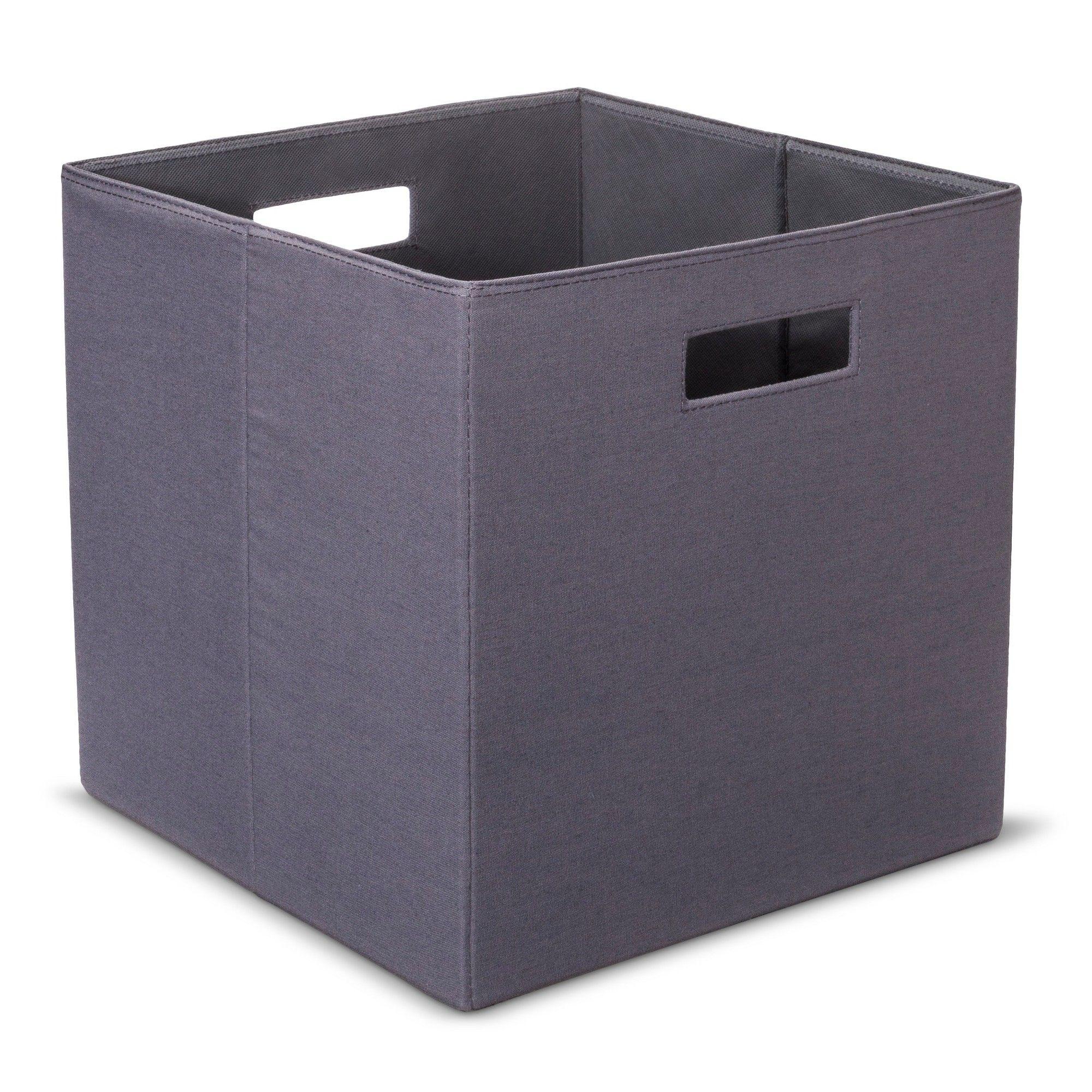 Fabric Cube Storage Bin 13   Threshold, Gray