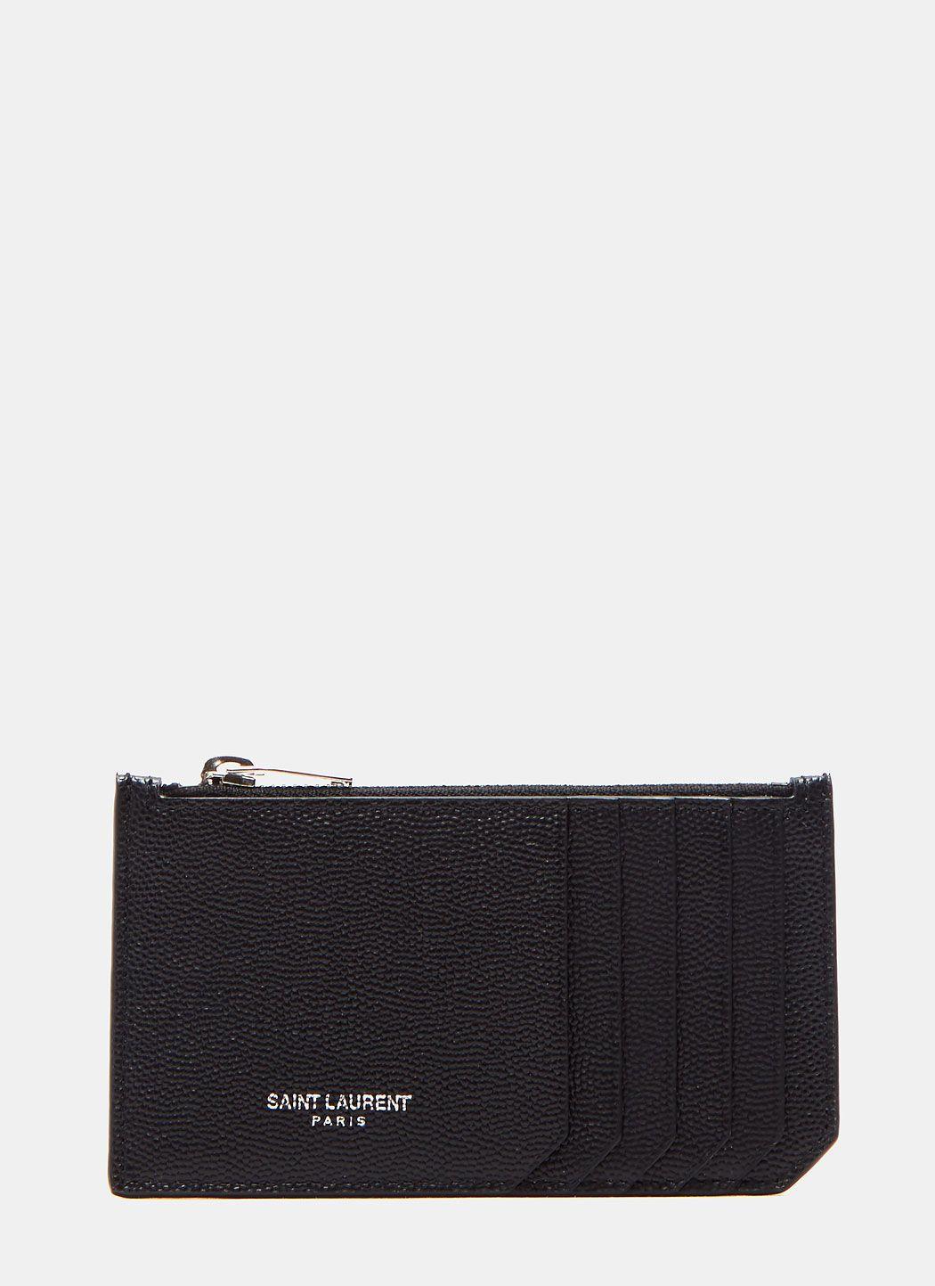 e7d7da08cc9 SAINT LAURENT Men'S Zipped Leather Card Holder In Black. #saintlaurent #