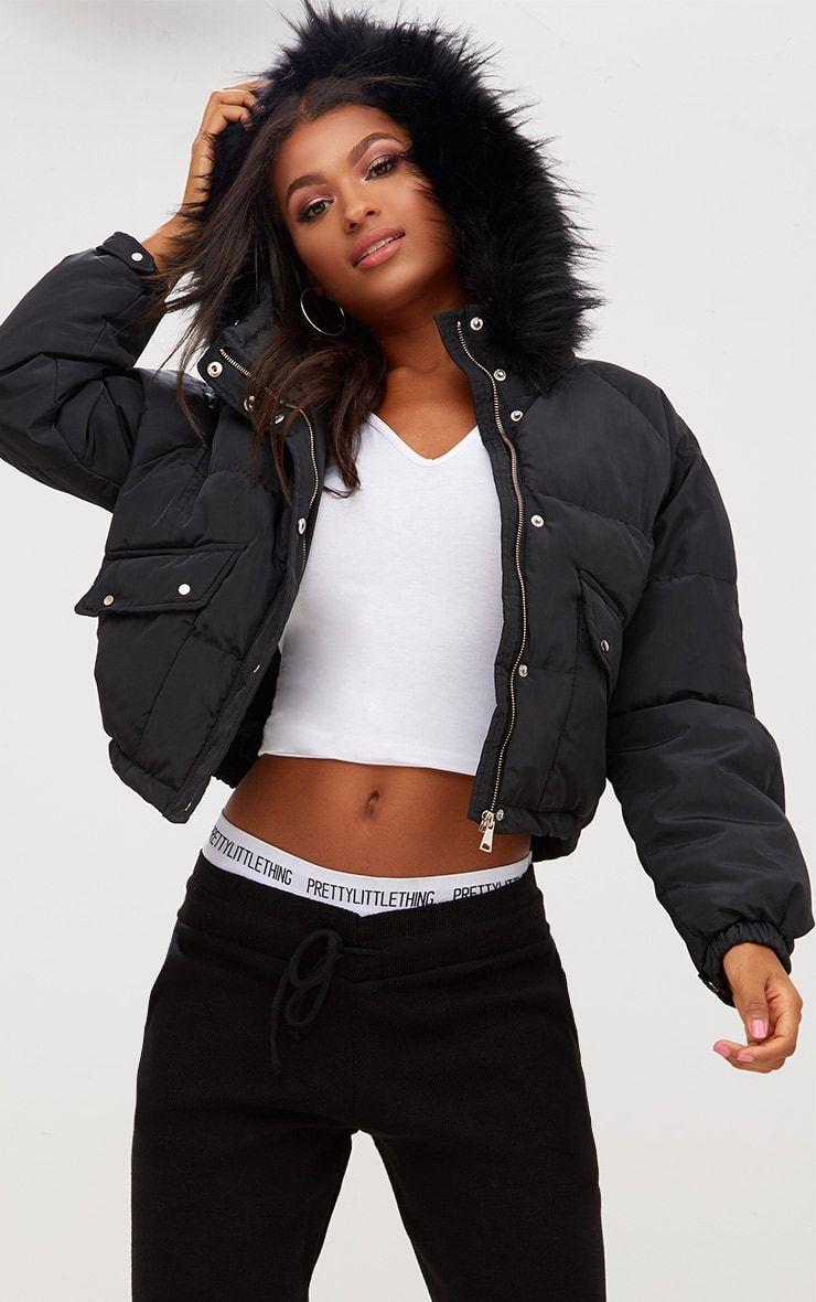 Black Cropped Puffer Jacket With Faux Fur Hood Cropped Puffer Jacket Faux Fur Hood Puffer Coat Fur Hood [ 1180 x 740 Pixel ]