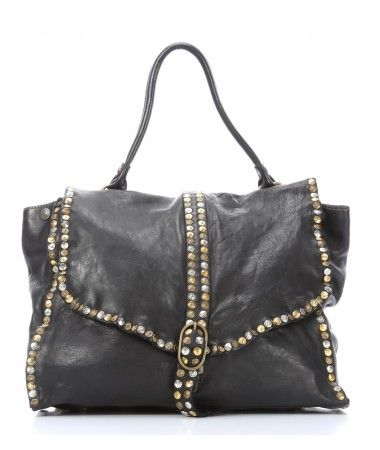 Campomaggi Lavata Satchel Leather black 45 cm - C1590VL-2000 - Designer Bags Shop - wardow.com