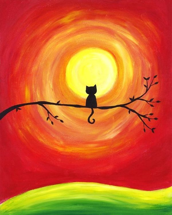 Easy Acrylic Painting Ideas On Canvas Sonnenuntergang Kunst Pastellkunst Kleine Leinwand Kunst