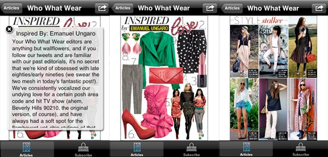 Best App for Style Inspiration: whowearwhat      Fashion begins with inspiration. And although style inspiration is available everywhere — on the runways, in magazines, on countless style blogs and in just about every kind of design — synthesizing and re-presenting that information in a meaningful way isn't necessarily easy. Magazine-like style blog WhoWhatWear brings its collection of trend reports