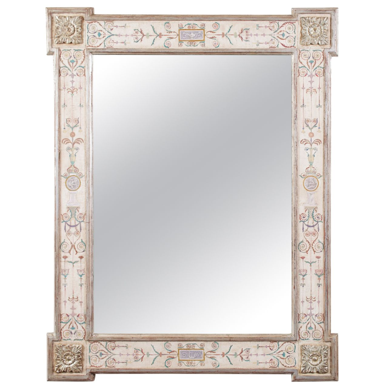 Hand Painted Neoclassical Pompeii Mirror Mirror Painting Modern Mirror Wall Mirror