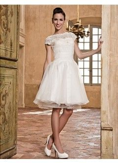A-line Bateau Organza And Lace Wedding Dress.  This would be a cool Reception Dress.