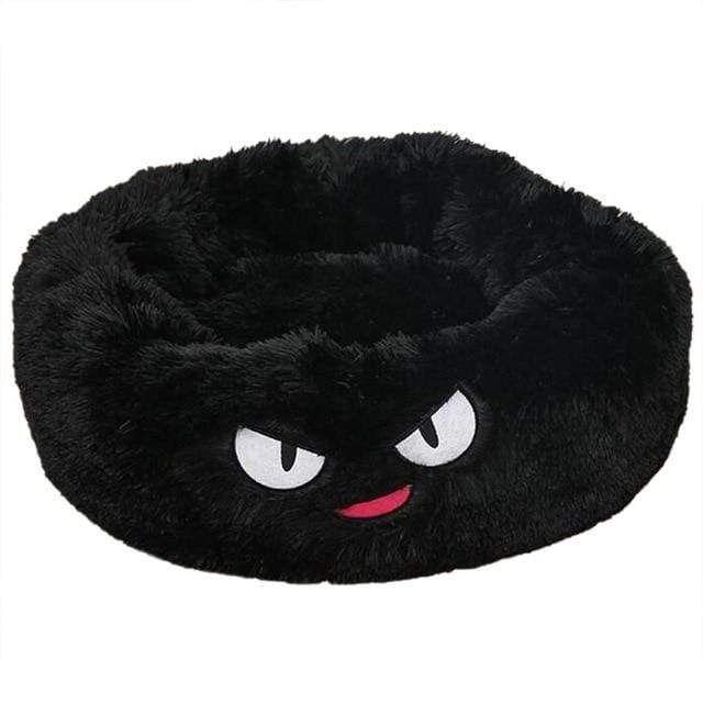 Unique Dog Fluffy Calming Beds, Black Cartoon / L 70 cm in
