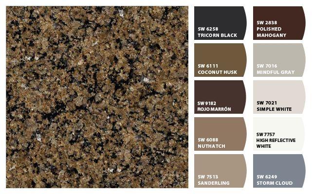 Colorsnap By Sherwin Williams Brown Granite Countertops Brown