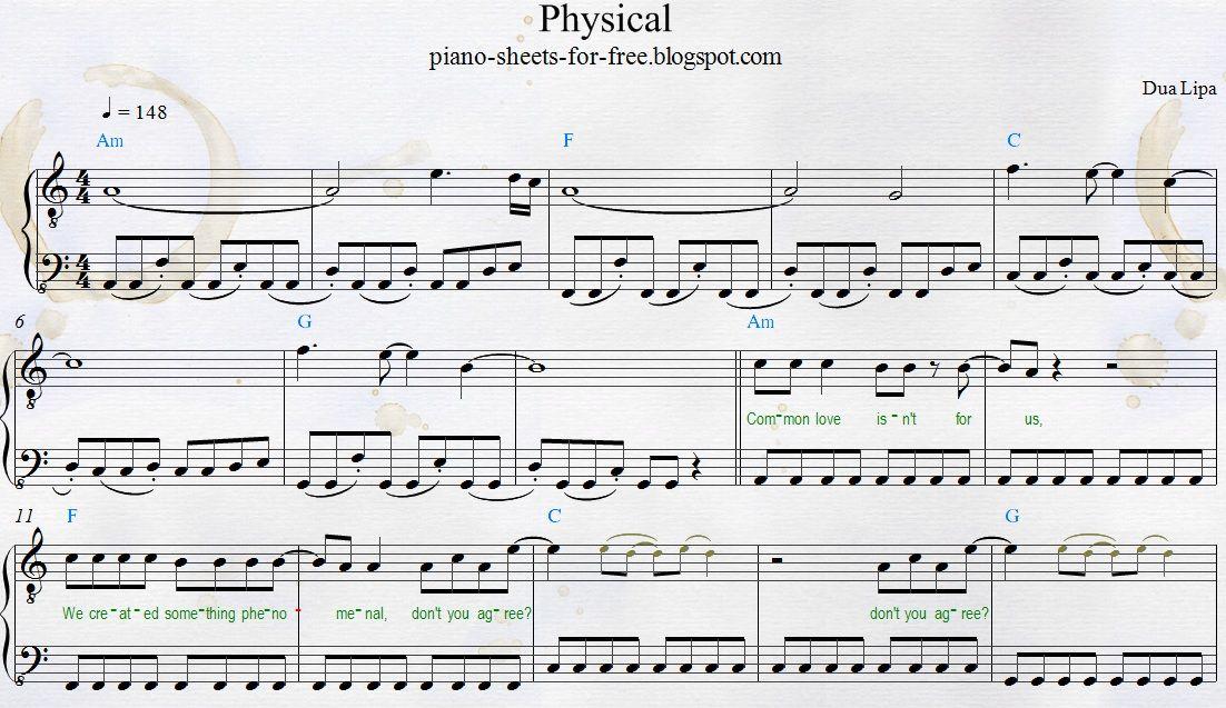 Download Free Pdf My Transcription Dua Lipa Physical Easy Piano