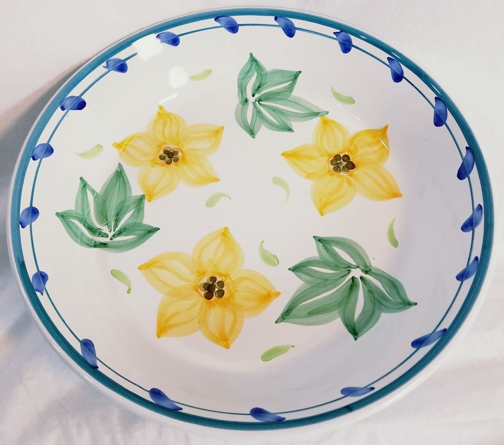 Caleca Fabio Italy 13 1/2  Large Salad Serving Bowl White Floral Flowers  sc 1 st  Pinterest & Caleca Fabio Italy 13 1/2