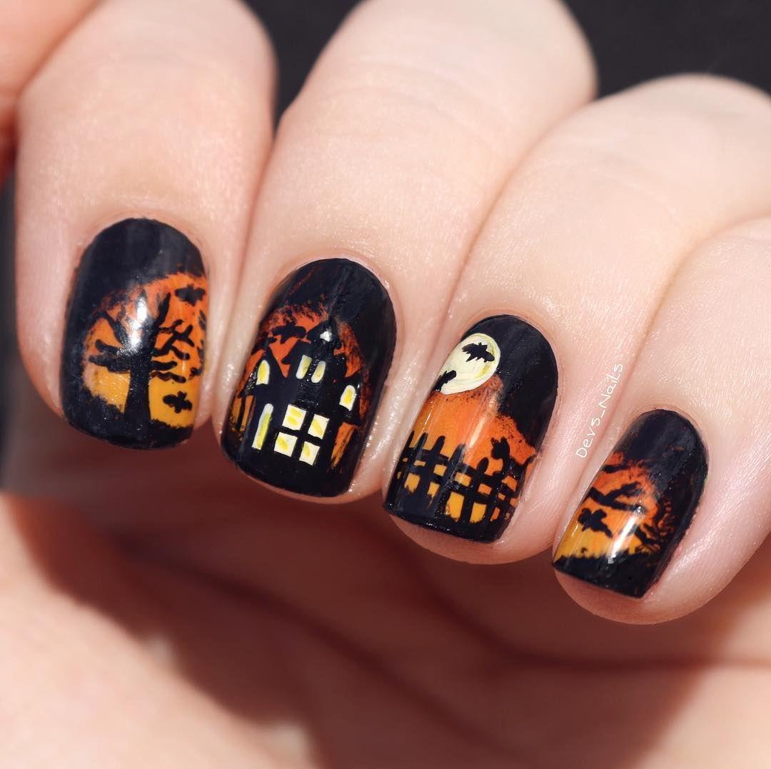 My Spooky Haunted House Nail Art