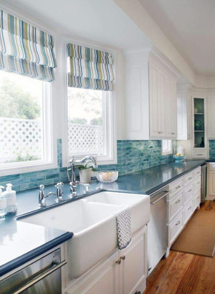 Love the back splash, sink and window treatments. | Beach Decor ...