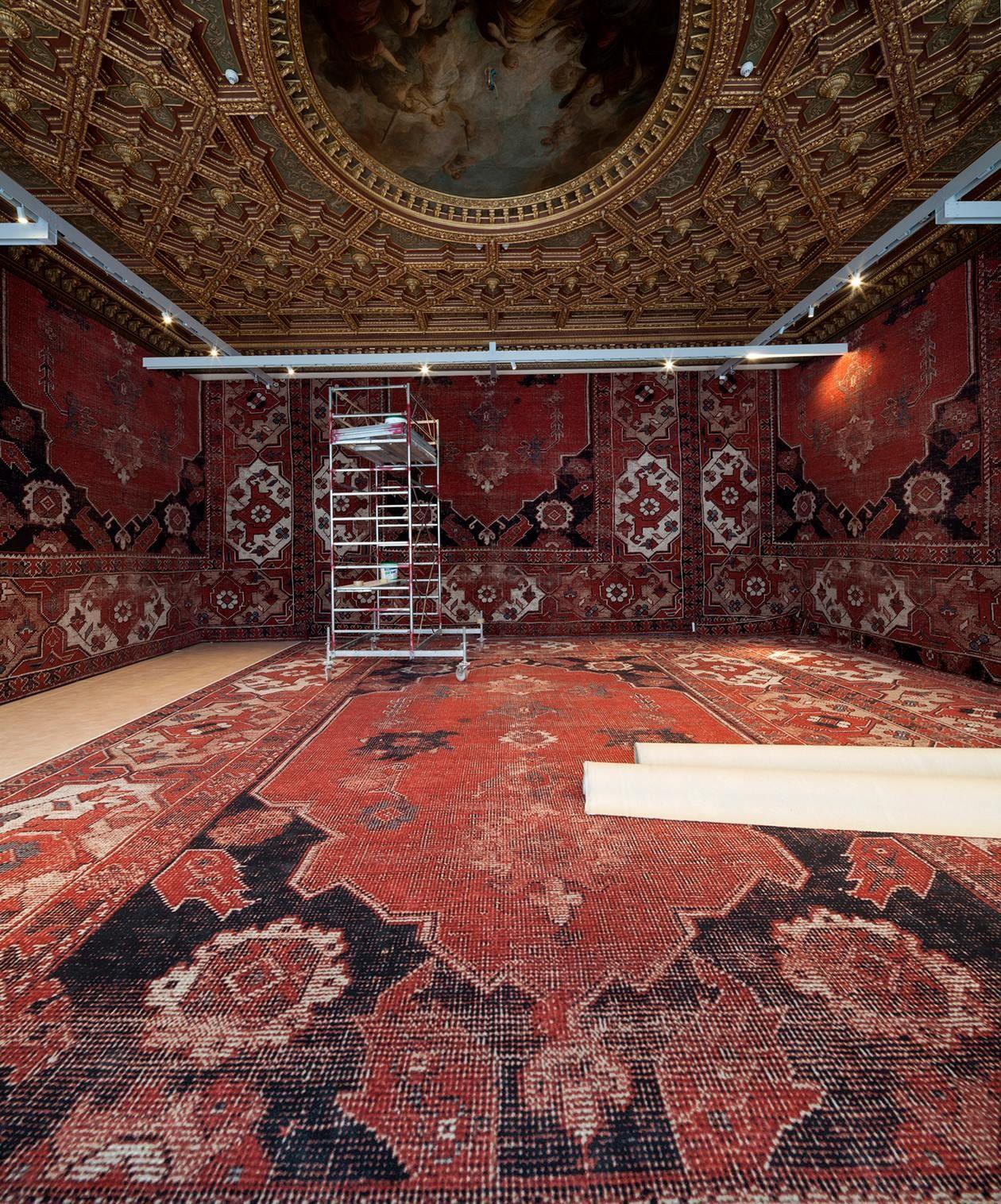 """""""Backstage of the exhibition """"Rudolf Stingel"""" (2013) at Palazzo Grassi."""" (Palazzo Grassi - Punta della Dogana)"""