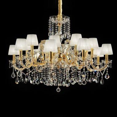 Elegant Italian Gold Plated Swarovski Crystal Chandelier